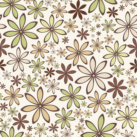 groene bloemen: Seamless abstract pattern with beige and green flowers  Vector illustration Stock Illustratie