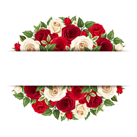 Background with red and white roses. Reklamní fotografie - 31053253