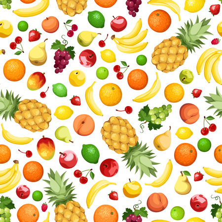 Seamless background with various fruits. Vector illustration.