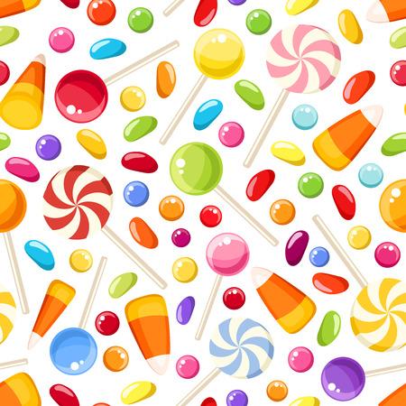 ハロウィーンのお菓子とのシームレスな背景。ベクトル イラスト。