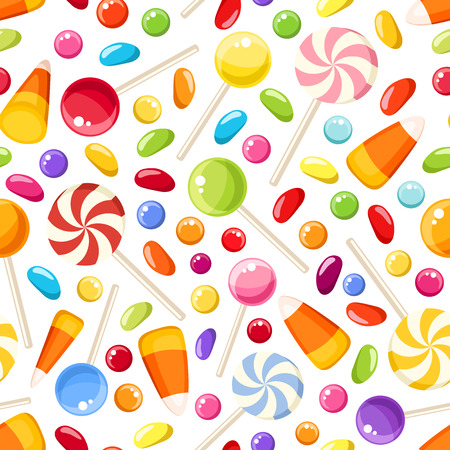 candy corn: Seamless background with Halloween candies. Vector illustration.