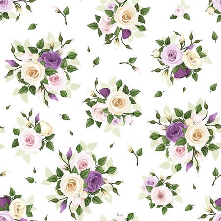 Naadloos patroon met rozen en lisianthus bloemen. Vector illustratie.