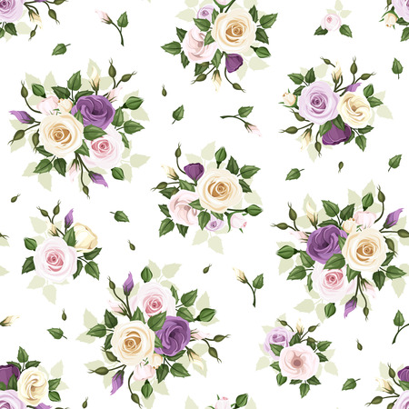 green and purple: Seamless pattern with roses and lisianthus flowers. Vector illustration. Illustration