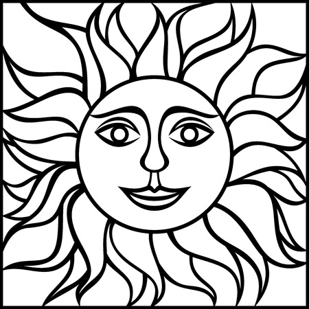 Black contour drawing of the sun with smiling face. Vector illustration. Illustration