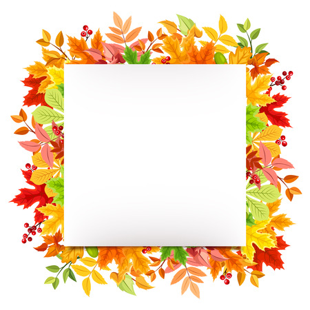 fallen: White card with colorful autumn leaves.