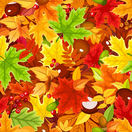 Seamless pattern with colorful autumn leaves. Vector illustration. Vector