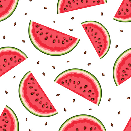 watermelon: Seamless background with watermelon slices. Vector illustration.