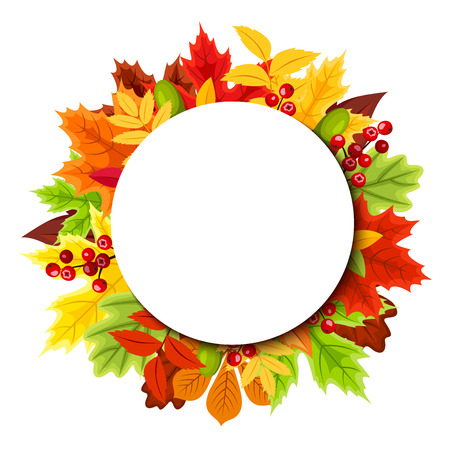 Background with colorful autumn leaves. Vector illustration. Vector