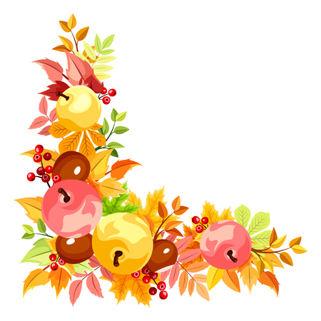 fallen fruit: Vector corner with colorful autumn leaves. Illustration
