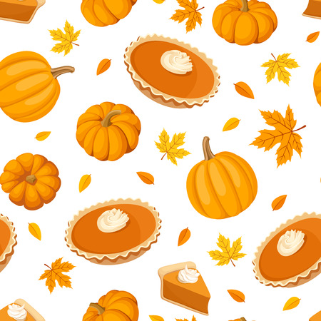 pumpkin pie: Seamless pattern with pumpkin pies and pumpkins.  Illustration