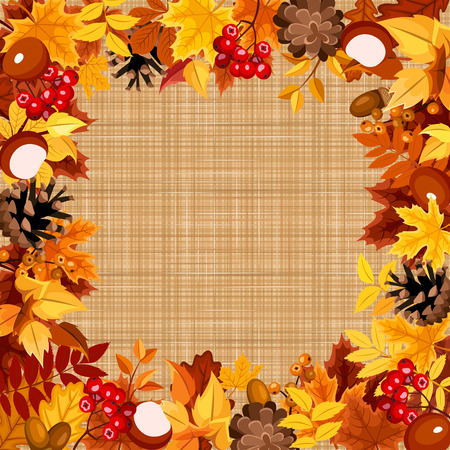 sacking: Background with autumn colorful leaves on a sacking fabric. Vector eps-10.