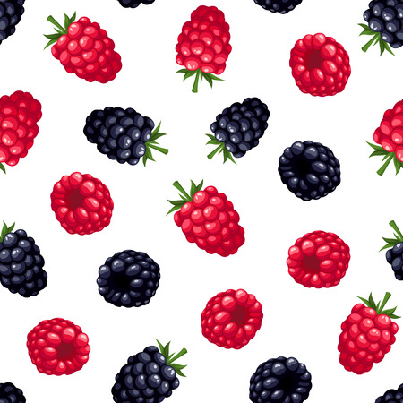 brambleberry: Seamless background with raspberry and blackberry. Vector illustration.