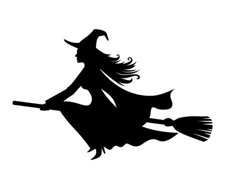 bruja: Bruja en un palo de escoba. Vector silueta de color negro. Vectores