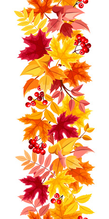 Vertical seamless with colorful autumn leaves.  Vector