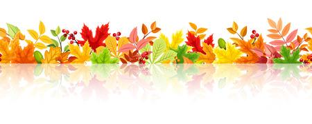 background herfst: Horizontale naadloze achtergrond met kleurrijke herfstbladeren. Stock Illustratie