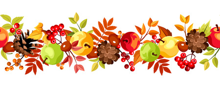 Horizontal seamless background with colorful autumn leaves, apples and cones. Vector illustration.