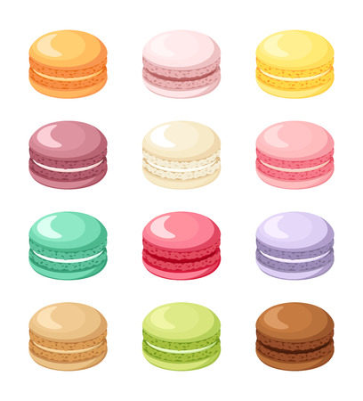Set of colorful French macaroon cookies isolated on white.