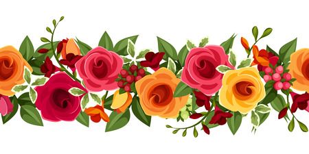 Horizontal seamless background with red and yellow roses and freesia.  Vector