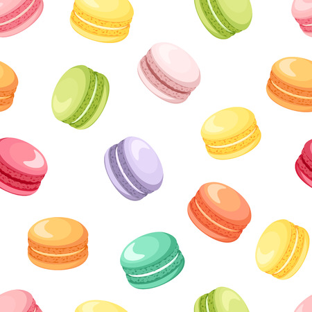 Seamless pattern with colorful macaroon cookies on white. Vector illustration. Ilustração