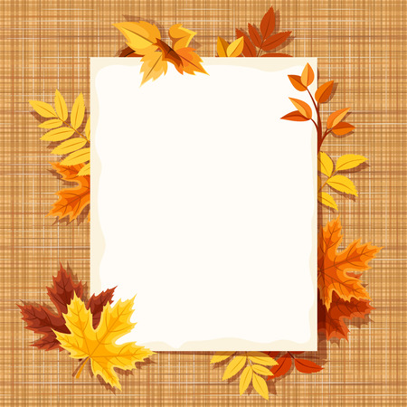 fall background: Autumn leaves and a paper sheet on a sacking fabric. Vector eps-10.