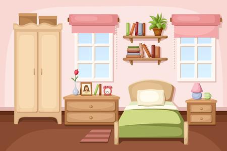 cama: Interior del dormitorio. Ilustración del vector. Vectores