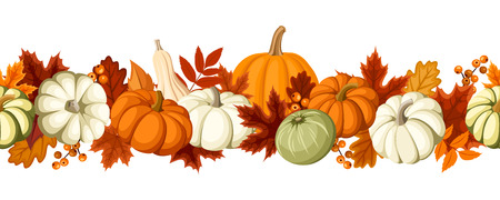 Horizontal seamless background with pumpkins and autumn leaves Vector