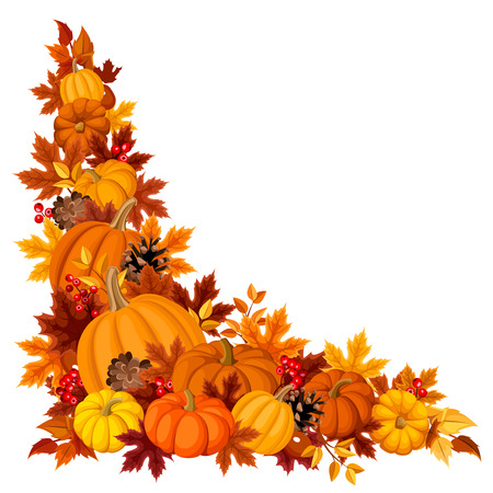 Corner background with pumpkins and autumn leaves Vector