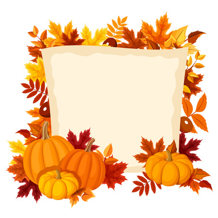 Vector card with pumpkins and autumn leaves. Vector illustration.  イラスト・ベクター素材