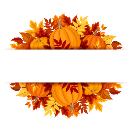 Banner with pumpkins and colorful autumn leaves. Vector