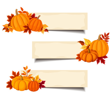 Vector beige banners with orange pumpkins and autumn leaves.