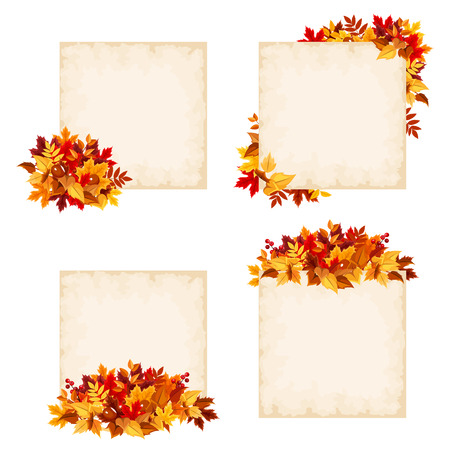 brown background: Vector beige cards with colorful autumn leaves.