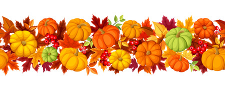 Horizontal seamless background with colorful pumpkins and autumn leaves. Vector illustration.