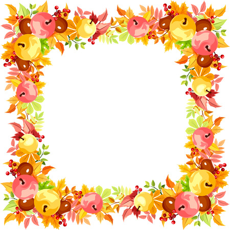 frame with colorful autumn leaves. Illustration