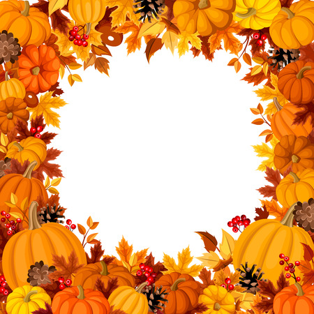 Background with orange pumpkins and autumn leaves. Vector illustration. Ilustração