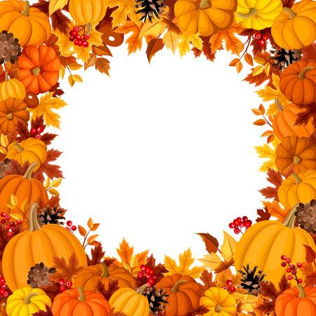 calabazas de halloween: Fondo con las calabazas de color naranja y hojas de otoño. Ilustración del vector. Vectores