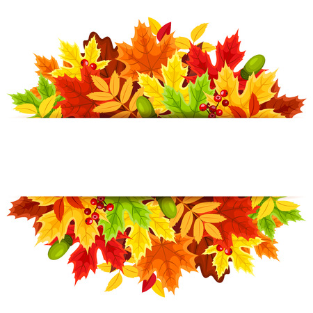 floral frame: Background with colorful autumn leaves.