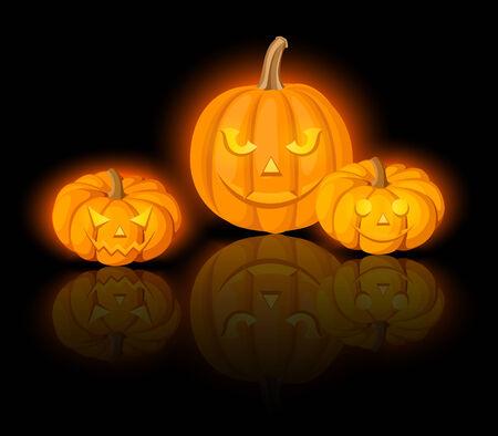 lighted: Lighted Jack-O-Lanterns (Halloween pumpkins). Vector eps-10.