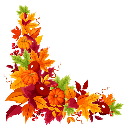 Corner background with pumpkins and colorful autumn leaves. Vector illustration.