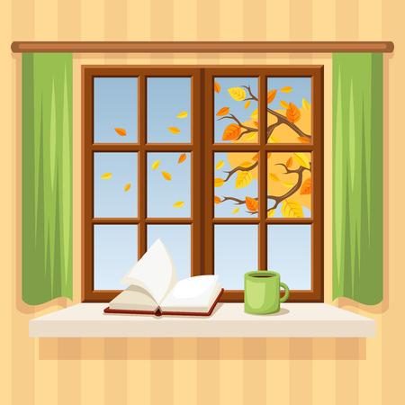cartoon trees: Autumn window. Vector illustration. Illustration