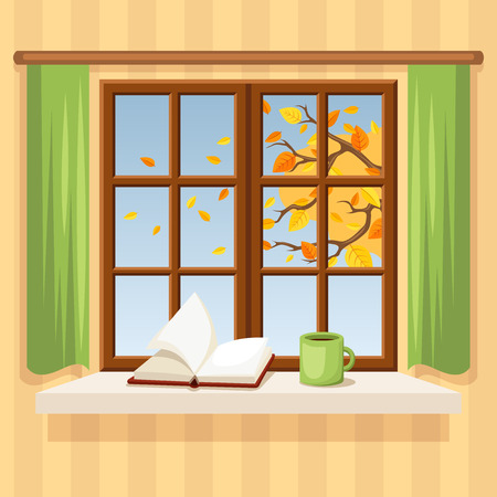 finestra: Finestra autunno. Illustrazione vettoriale.