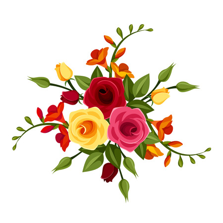 Red and yellow roses and freesia flowers. Vector illustration. 矢量图像