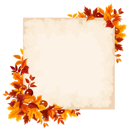 brown background: Vector card with colorful autumn leaves. Illustration