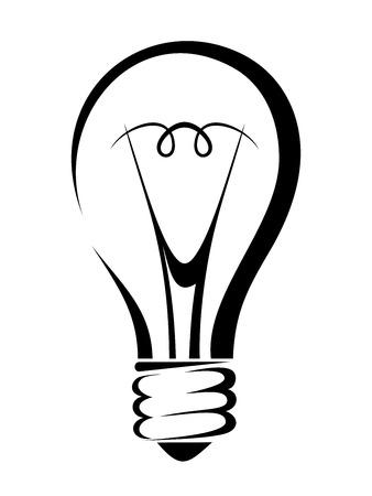 lamp silhouette: Light bulb. Vector black silhouette.
