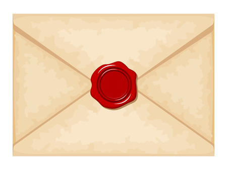 royal mail: Envelope with red wax seal. Vector illustration.