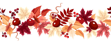 Horizontal seamless background with autumn leaves. Vector illustration. Vector