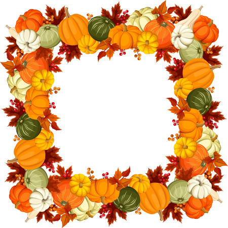 is falls: Frame with pumpkins and autumn leaves. Vector illustration.