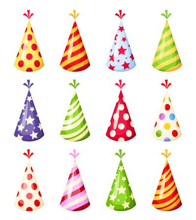 Set van kleurrijke partij hoeden. Vector illustratie.