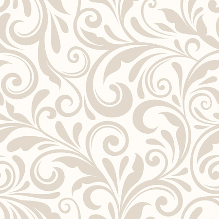 flourish: Vintage seamless beige floral pattern. Vector illustration.
