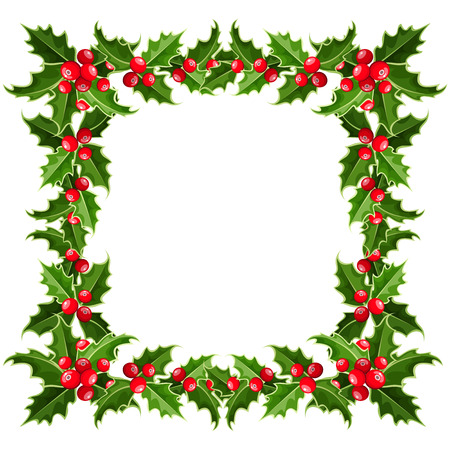 holly leaf: Christmas frame with holly. Vector illustration.