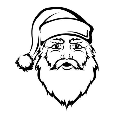 man face: Kerstman hoofd. Vector zwarte contour. Kerst illustratie.